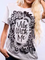 Vile with Me Print T Shirt Women Stylish - BisCloset