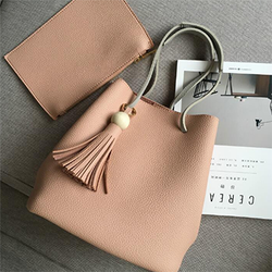 Leather Women Bucket Tassel Shoulder Bags 2 Pcs - BisCloset