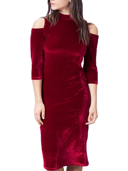 Red Velvet Turtleneck Long Off Shoulder Dress BisCloset