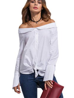 White Women's Top Blouse Autumn Off The Shoulder Casual Shirt - BisCloset