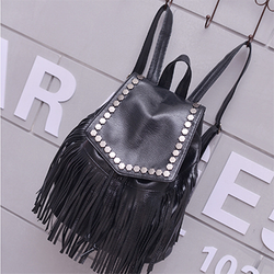 Women Leather Rivet Tassel Daily Black Backpack - BisCloset