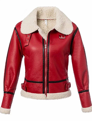 Casual Leather Red Winter Fur Jacket - BISCLOSET - 1