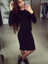 Autumn Knitted Bodycon Maxi Dress Long Sleeve - BisCloset