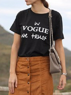 Black T-shirt Women IN VOGUE WE TRUST Print - BisCloset
