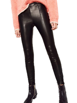 Casual Black Faux Leather High Waist Leggings BisCloset