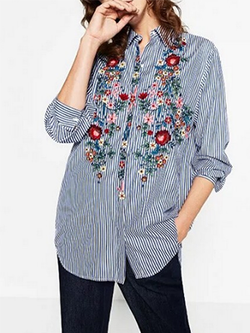 Casual Cotton Blue Striped Front Embroidered Blouse BisCloset