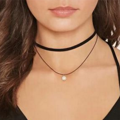 Fashion Women double layer leather pearl choker necklace - BisCloset