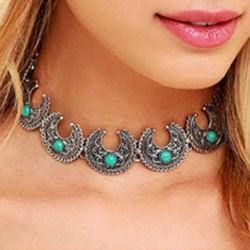 Vintage Silver Turquoise Choker Moon Design Statement - BisCloset