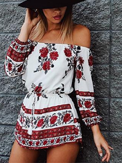 Off shoulder red floral print Jumpsuit Romper - BisCloset