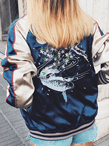 Fish Floral Embroidery Casual Fashion Women Baseball Jacket - BisCloset