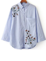 Vintage Hollow Cotton Blue Striped Embroidered Shirt Blouse BisCloset