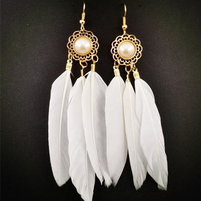 Fashion White Feather Dangle Tassel Earring - BisCloset