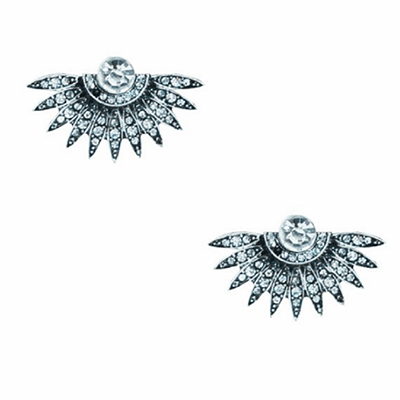 Women Fashion rhinestone sector stud Silver Earrings - BisCloset