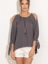 Chiffon Blouse Off Shoulder Lantern Bow Sleeve Top BisCloset