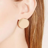 Fashion Copper Round Stud Earrings - BisCloset