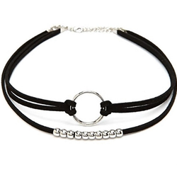Fashion Women Black Silver Hoop Round Choker Necklace BisCloset
