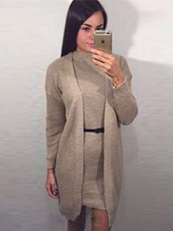 Autumn Knitted Dres 2 Two Piece Set Sweater Cardigan Winter Dress - BisCloset