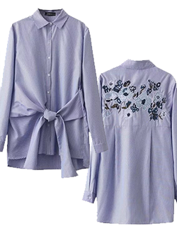 Casual Bow Blue Striped Back Embroidered Blouse BisCloset