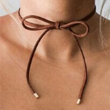 Fashion Women terciopelo leather bow choker DIY necklace - BisCloset