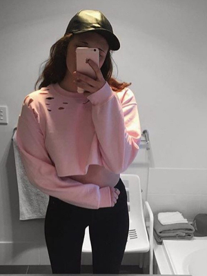 Pink Ripped Sweatshirt Women Cropped Sport Top - BisCloset