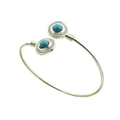Silver Antique Turquoise Cuff Bangle - BisCloset