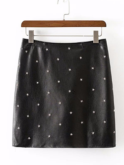 Black Leather Star Rivets Mini Skirt - BISCLOSET - 1
