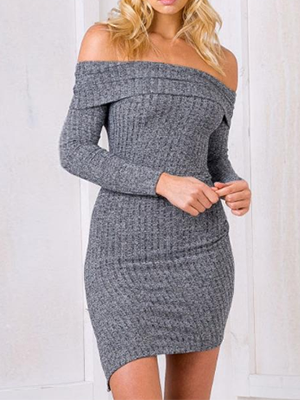 Sexy Off Shoulder Gray Knitted Asymmetrical Dress - BisCloset
