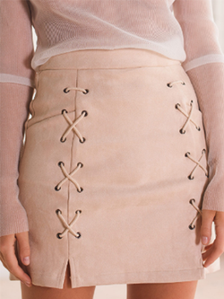 High Waist Suede Bandage Cross A-line Mini Skirt BisCloset