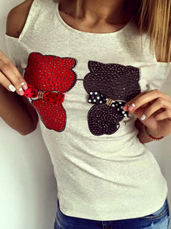 Diamond Wearing a Bow Tie Bear  Off the Shoulder Tee - BisCloset