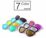 Women Cat Eye Sunglasses Oval Frame Mirror Lens - BisCloset