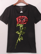 Casual Fashion ROSE sequined printing t-shirt - BisCloset