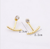 Pearl bar clip stud woman earrings - BisCloset