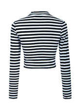 Striped Autumn Crop Top Lady Women Clothing Tops - BisCloset