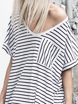 Casual Striped Hollow Out Loose Top Tee BisCloset