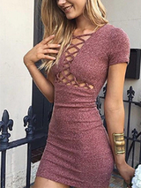 Sexy Lace up Knitted Dress - BisCloset