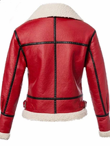 Casual Leather Red Winter Fur Jacket - BISCLOSET - 2