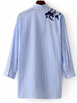 Casual Cotton Blue Striped Embroidered Shirt Turn-down Collar BisCloset