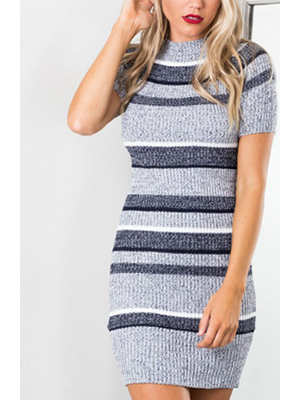 Gray Striped Knitted Dress - BisCloset