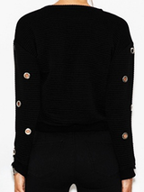 Hollow Out Lace up Black Knitted Pullover Sweatshirt BisCloset