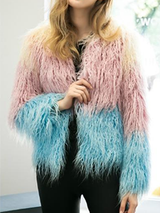 Pink Blue Faux Fur Parka Plus Sizes - BisCloset