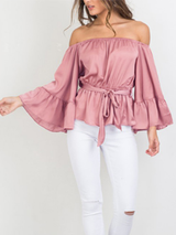 Satin Off Shoulder Flair Sleeve Bow Blouse - BisCloset