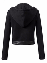 Black Faux Leather Hooded Winter Jacket BisCloset