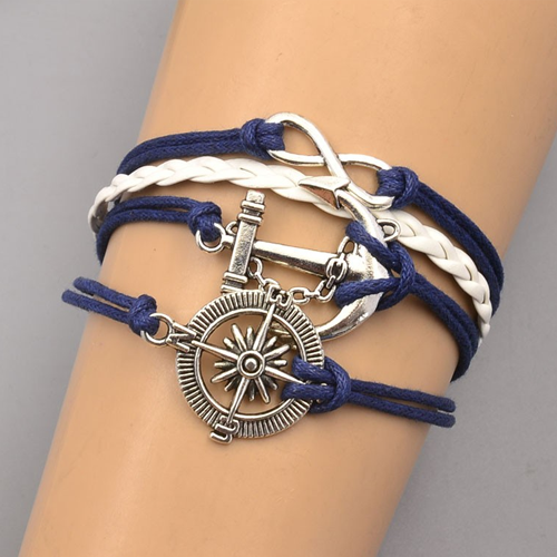 Fashion Leather Anchor Bracelet - BisCloset