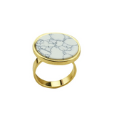 Fashion Round turquoise stone finger ring - BisCloset