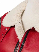 Casual Leather Red Winter Fur Jacket - BISCLOSET - 3