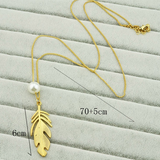 Women Fashion leaf feather pearl pendant necklace - BisCloset