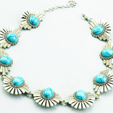 Vintage Silver Turquoise Choker Statement Necklace Fashion Jewelry - BisCloset