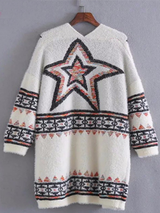 Casual Star Design Long Sleeve Knitted Cardigan Sweater BisCloset