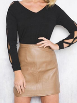 Fashion Sexy High Waist Faux Leather Skirt - BisCloset