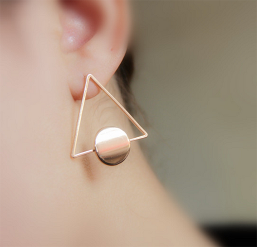 Fashion copper Triangle stud earring - BisCloset